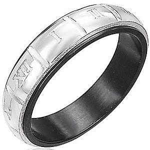 Prsteň z ocele - gravírované rímske číslice, strieborná a čierna farba F8.6 vyobraziť