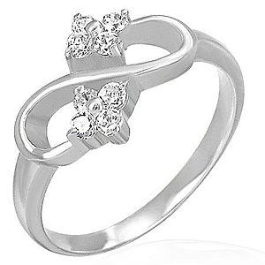 Zásnubný prsteň - osmička, zirkónové kvietky F7.12 vyobraziť