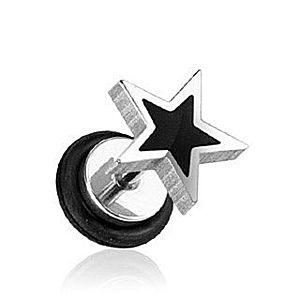 Fake plug hviezda - čierna a strieborná farba F11.10 vyobraziť