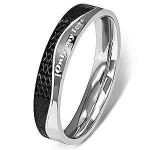 Oceľový prsteň - strieborná a čierna farba, vlnovka K12.10 vyobraziť