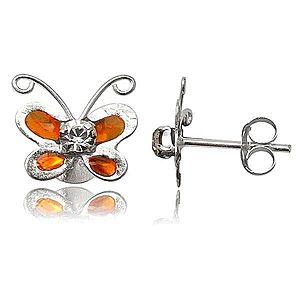 Strieborné náušnice 925 - oranžový motýlik s čírym zirkónom T18.1 vyobraziť