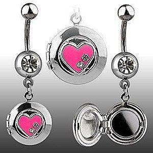 Piercing do pupku - okrúhly medailón, srdiečko, zirkóny Y10.16 vyobraziť