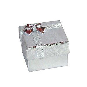 Darčeková krabička na náušnice - strieborné lesklé ruže, mašľa, 50 mm Y4.7 vyobraziť
