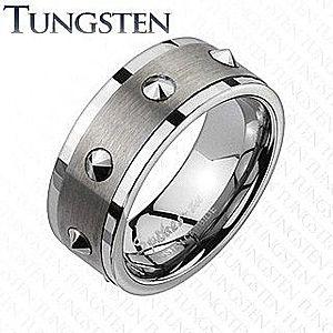 Wolfrámový prsteň - brúsený stredný pás, kužele K16.2 vyobraziť