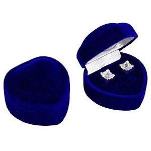Darčeková krabička na náušnice - tmavomodré zamatové srdce Y26.4 vyobraziť