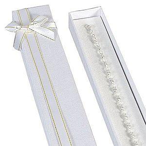 Darčeková krabička podlhovastá - biela, stuha zlatobielej farby Y25.5 vyobraziť