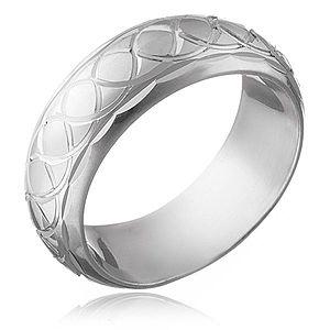 Strieborný prsteň 925 - gravírované prepletané očká H13.17 vyobraziť