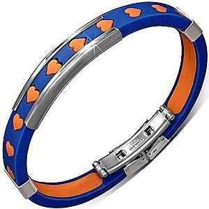 Náramok z gumy - modrý s oranžovými srdiečkami a kovovými ozdobami X15.3 vyobraziť