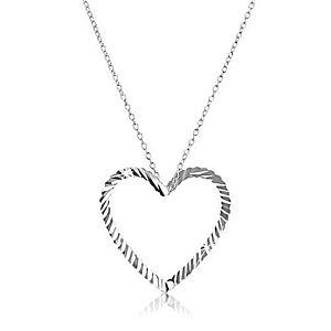 Strieborný náhrdelník 925 - retiazka s vlnitou kontúrou srdca X32.3 vyobraziť