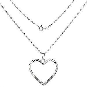 Náhrdelník striebro 925 - lesklá retiazka s obrysom srdca X32.2 vyobraziť