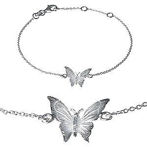Náramok zo striebra 925 - gravírovaný motýlik na retiazke X30.16 vyobraziť