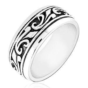 Strieborný prsteň 925 - obrúčka s vyrezávaným ornamentom H17.13 vyobraziť