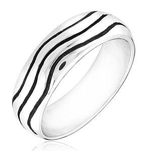 Strieborný prsteň 925 - zaoblená obrúčka s vlnkami H16.18 vyobraziť