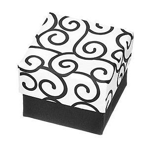 Darčeková krabička na prsteň - čiernobiela kocka s ornamentami Y28.6 vyobraziť