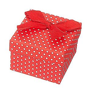 Darčeková krabička na šperk - biele bodky s mašľou Y30.20 vyobraziť
