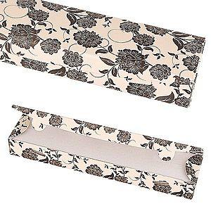 Papierová darčeková krabička - béžová s čiernymi kvetmi Y26.20 vyobraziť