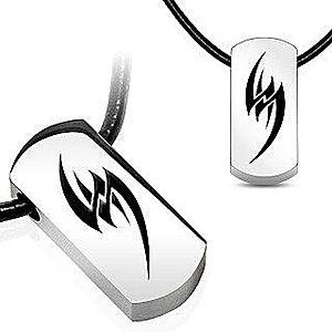 Náhrdelník na gumenej šnúrke - oceľový tribal symbol AB7.02 vyobraziť