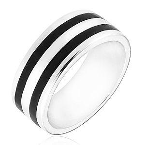 Strieborný prsteň 925 - obrúčka s dvomi čiernymi pásmi H17.15 vyobraziť