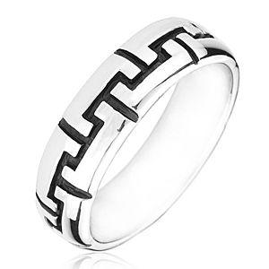 Strieborný prsteň 925 - čierne gravírované zúbky H18.13 vyobraziť