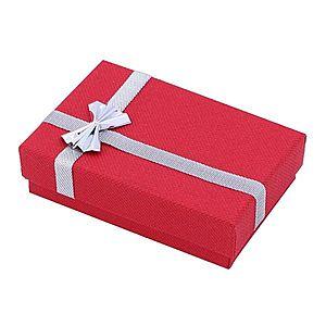 Darčeková krabička na náušnice - červená so striebornou stuhou TY15 vyobraziť