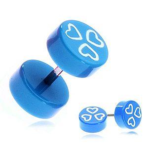 Fake piercing do ucha z akrylu - modré kolieska a srdiečka PC33.17 vyobraziť
