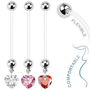Bioflex piercing do pupku pre tehotné ženy - zirkónové srdce AA43.12 vyobraziť