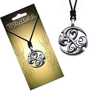 Čierny náhrdelník, TRIBAL prívesok - kruh s dračími špirálami S3.18 vyobraziť