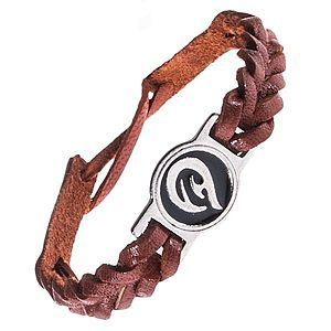 Kožený náramok - karamelovo hnedý, pletený, TRIBAL ornament AC3.05 vyobraziť