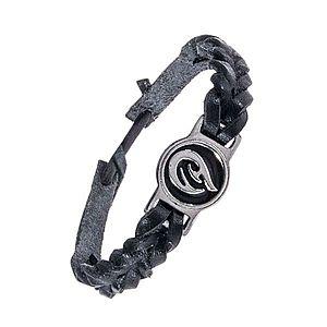 Pletený čierny náramok - kožený, tribal ornament AC3.06 vyobraziť