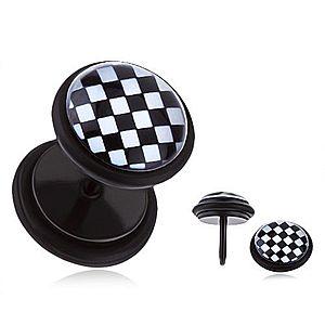 Okrúhly oceľový fake plug - čierno-biela šachovnica, glazúra PC28.08 vyobraziť