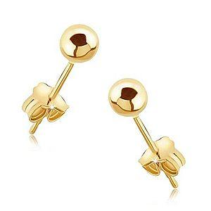 Náušnice zo zlata 14K - lesklé hladké guličky na puzetke GG05.19 vyobraziť