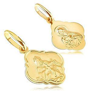 Prívesok zo 14K zlata - matný medailón s Kristom a Madonou GG05.14 vyobraziť