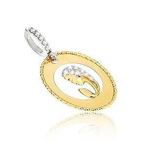Prívesok v žltom 14K zlate - oválny medailón, výrez, hlava ženy, zirkóny GG11.43 vyobraziť