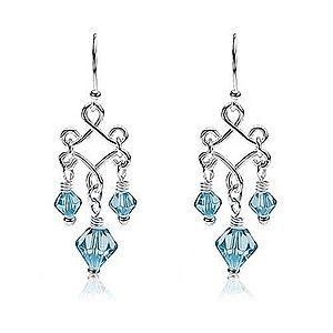 Visiace náušnice s modrými korálkami zo skla, striebro 925 R15.4 vyobraziť