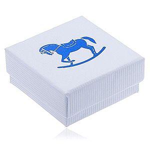 Biela vrúbkovaná darčeková krabička, modrý hojdací koník Y3.12 vyobraziť