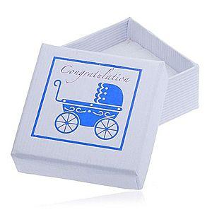 Biela darčeková krabička na šperk - modrý detský kočík Y25.4 vyobraziť