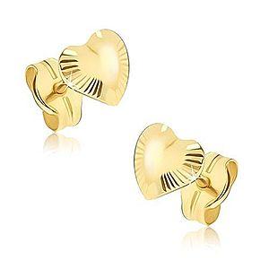 Ligotavé zlaté náušnice 585 - nepravidelné srdiečka, lúčovité ryhovanie GG16.05 vyobraziť