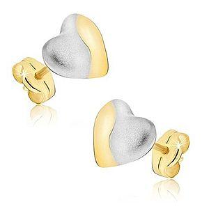 Zlaté náušnice 585 - dvojfarebné symetrické srdcia, puzetky GG15.03 vyobraziť
