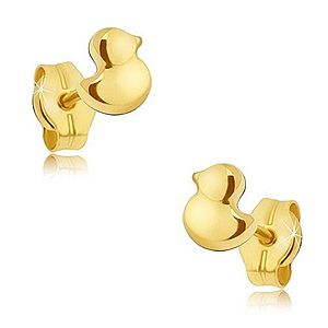 Zlaté puzetové náušnice 585 - maličké ligotavé kačičky GG18.03 vyobraziť
