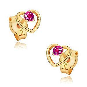 Zlaté náušnice 585 - obrys pravidelného srdca, okrúhly ružový rubín GG19.02 vyobraziť
