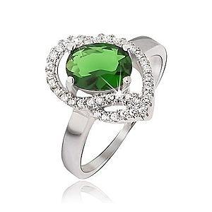 Strieborný prsteň 925, oválny zelený kamienok, zirkónové oblúky J05.17 vyobraziť
