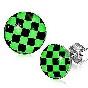Náušnice z ocele, zeleno-čierna šachovnica S11.09 vyobraziť