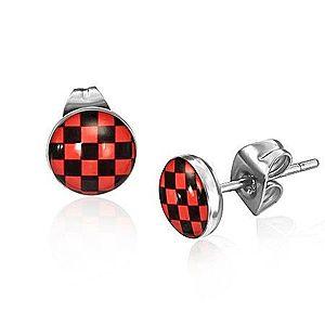 Oceľové náušnice, červeno-čierny šachovnicový vzor AB25.11 vyobraziť