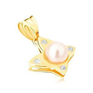 Zlatý prívesok 585 - lesklý motýľ s okrúhlymi čírymi zirkónmi, perla GG13.42 vyobraziť