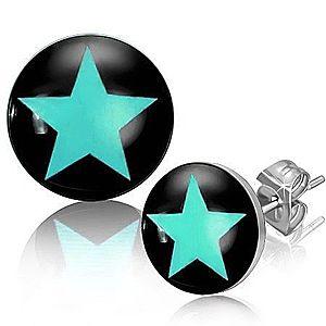 Puzetové náušnice z ocele, modrá hviezda na čiernom podklade Q21.19 vyobraziť