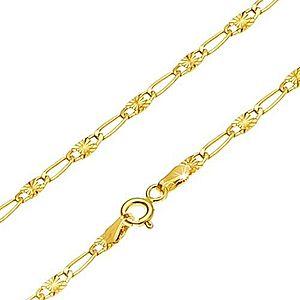 Retiazka v žltom 14K zlate - dlhé očko, článok s lúčovitým ryhovaním, 500 mm GG26.18 vyobraziť