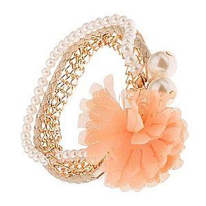 Multináramok - zlaté retiazky, béžový pletenec, korálky, oranžový kvet S39.20 vyobraziť
