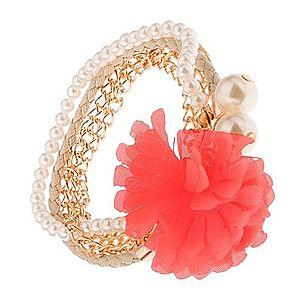 Multináramok - zlaté retiazky, béžový pletenec, korálky, lososový kvet S40.30 vyobraziť
