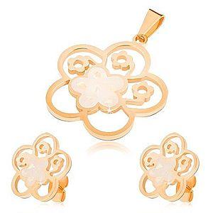 Set z ocele zlatej farby, náušnice a prívesok, vyrezávaný kvet s perleťou S44.30 vyobraziť