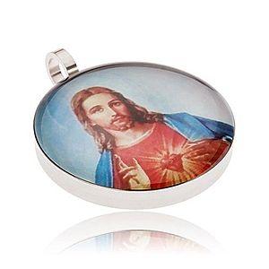 Okrúhly oceľový medailón, Ježiš v červeno-modrom rúchu S46.12 vyobraziť